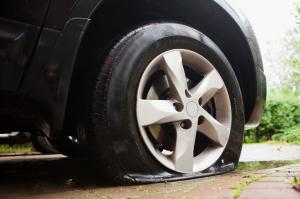 damaged flat tire